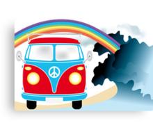 VW T1 van on the beach under rainbow Canvas Print