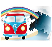 VW T1 van on the beach under rainbow Poster