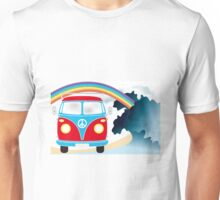 VW T1 van on the beach under rainbow Unisex T-Shirt