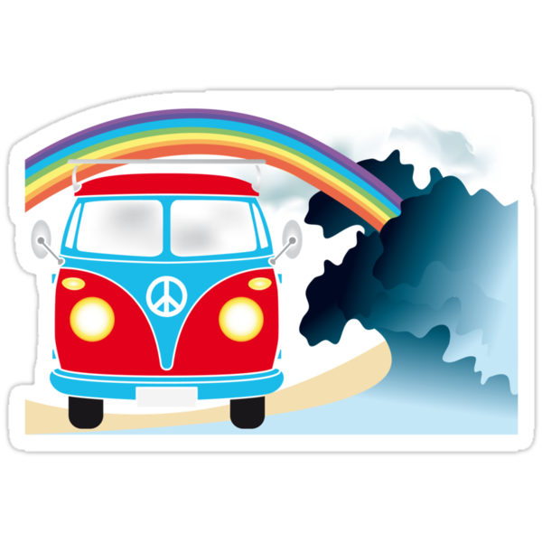 VW T1 van on the beach under rainbow by schtroumpf2510