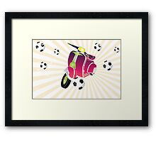 Retro vespa playing football Framed Print