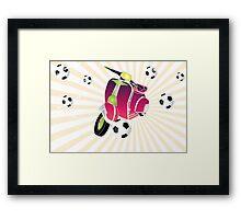 Retro vespa playing football Framed Print