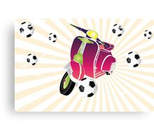 Retro vespa playing football Canvas Print