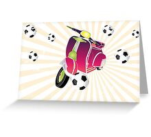 Retro vespa playing football Greeting Card