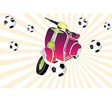 Retro vespa playing football Photographic Print