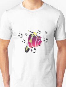 Retro vespa playing football Unisex T-Shirt