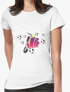 Retro vespa playing football Womens Fitted T-Shirt
