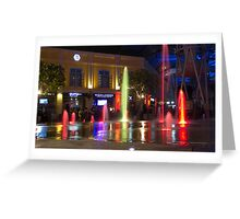 Colorful water jets at Clarke Quay in Singapore Greeting Card