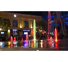 Colorful water jets at Clarke Quay in Singapore Photographic Print