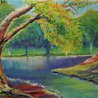 Irvine Park Lake - Plein Air Quick Study by Leslie Gustafson