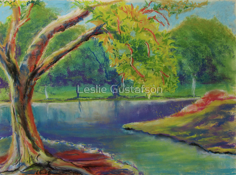 Irvine Park Lake - Plein Air Quick Study by Leslie Gustafson