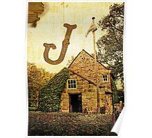 "Grungy Melbourne Australia Alphabet Letter ""J"" James Cook Poster"