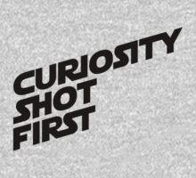 Curiosity Shot First - Black Text Kids Clothes