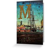 Grungy Melbourne Australia Alphabet Letter M Marina Docklands Greeting Card