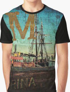 Grungy Melbourne Australia Alphabet Letter M Marina Docklands Graphic T-Shirt
