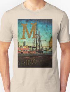 Grungy Melbourne Australia Alphabet Letter M Marina Docklands T-Shirt