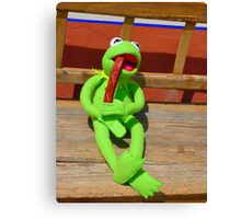 Eat Hunger Vespers Frog Kermit Canvas Print