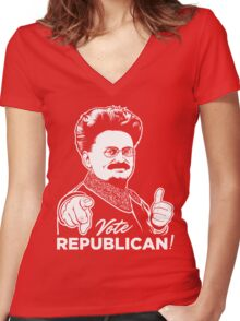 Trotsky Vote Republican Women's Fitted V-Neck T-Shirt