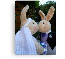 Knitted Bride and Groom Rabbits Canvas Print