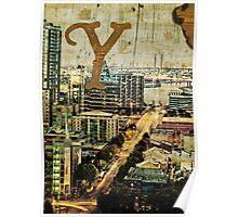 Grungy Melbourne Australia Alphabet Letter Y Yarra River Poster