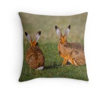 Hares Have Ears Throw Pillow