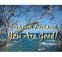 """Creation Declares You Are Good"" by Carter L. Shepard Photographic Print"