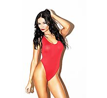 Modern Pinup - Brunette in Red Photographic Print