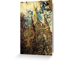 Grungy Melbourne Australia Alphabet Letter P St Patrick's Cathedral Greeting Card