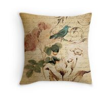 vintage bird roses floral botanical art  Throw Pillow