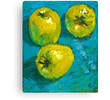 Three Green Apples Canvas Print