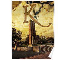 Grungy Melbourne Australia Alphabet Letter K Kings Domain Poster
