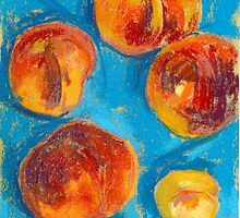 Peaches On a Blue Tablecloth by kira-culufin