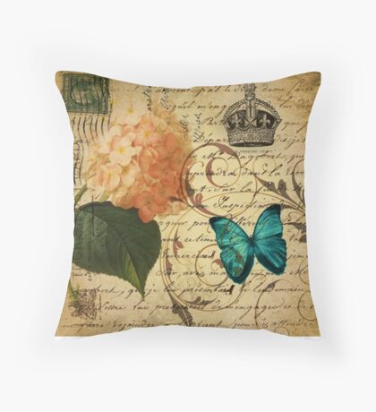 vintage butterfly hydrangea floral botanical art Throw Pillow