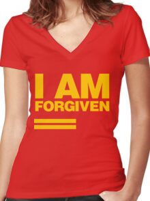 I AM FORGIVEN (ROYAL YELLOW) Women's Fitted V-Neck T-Shirt