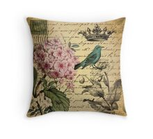vintage paris hydrangea floral botanical art Throw Pillow
