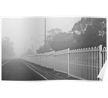 where the white fence becomes a white wall Poster