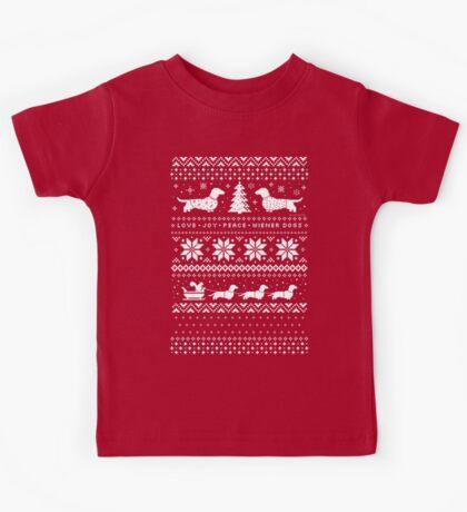 Dachshunds Christmas Sweater Pattern Kids Tee