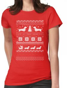Dachshunds Christmas Sweater Pattern Womens Fitted T-Shirt