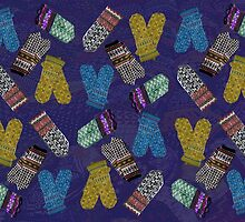 """""""Latvian Mittens 1""""© by Lisa Clark for Thinker Collection - STEM Art"""