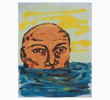 Orange Head Emerging from Water Kids Clothes