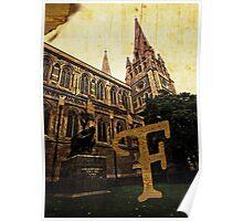 Grungy Melbourne Australia Alphabet Letter F Captain Matthew Flinders Poster