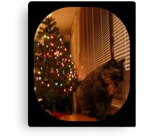 Christmas Kitty Waiting for Santa Canvas Print