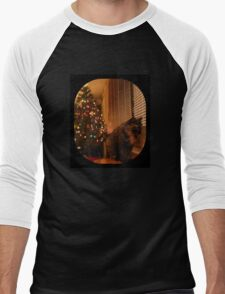 Christmas Kitty Waiting for Santa Men's Baseball ¾ T-Shirt