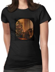 Christmas Kitty Waiting for Santa Womens Fitted T-Shirt
