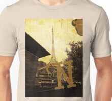 Grungy Melbourne Australia Alphabet Letter N National Gallery Victoria Wireframe Tower Unisex T-Shirt