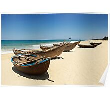 Fishing Boats Minh Tan beach - Quang Ngai - Vietnam Poster
