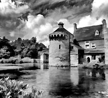 Black and White Scotney Castle by Bel Menpes