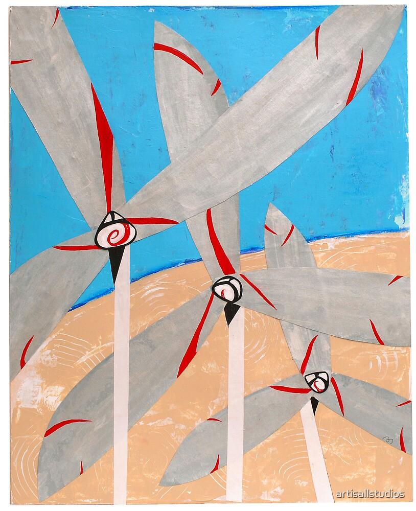 Windmills and Desert by artisallstudios