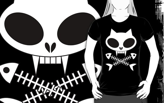 Kitty skull t-shirt by Jacqueline Gwynne