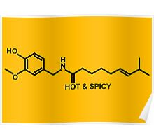 Hot and Spicy: Capsaicin Molecule Poster